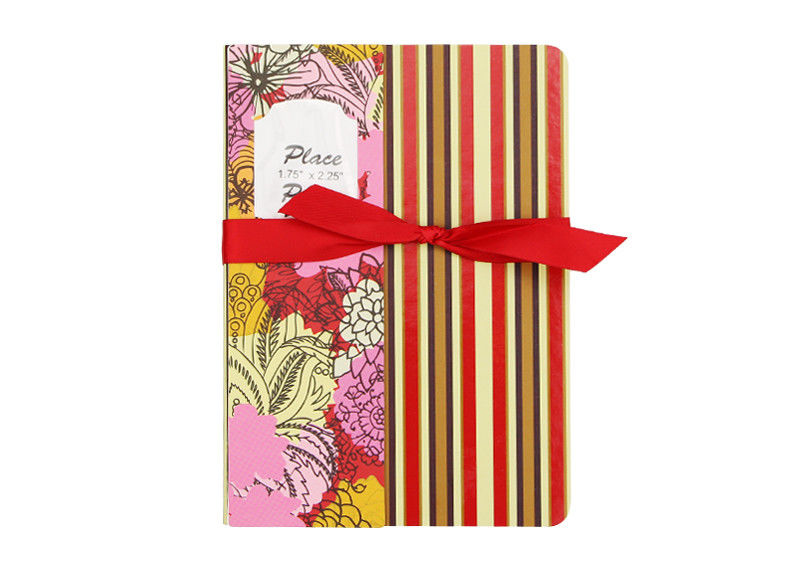 Stripe Custom Printed Notebooks , Personalised Writing Journal Bookmark Bow Found